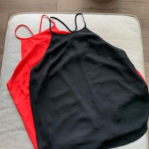 Set of 2 Black and Red Camisole/Tank tops
